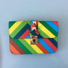 2017 new rainbow colored colorful stripe rivet decorate lock buckle women shoulder crossbody bag woman mobile phone bags clutch