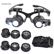Magnifier Jewelry Loupe Double Eye Watch Repair Magnifier, Eyewear Miniature Magnifying Glass Magnifier Tool Set With LED Lights