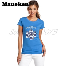 Women dallas Dak Dynasty Dak Prescott Ezekiel Elliott Dez Bryant Jason Witten T-Shirt Lady Clothes Cowboys T Shirt Girl W0603002(China)