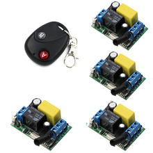 RF Wireless Remote Control Switch System AC 220 V 1 Channel 4 piece Receivers & 1 piece Transmitter For Home Appliances/Lamp(China)
