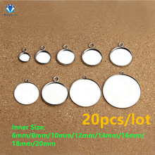 MINGXUAN 20pcs/lot 6-20mm High Quality Stainless Steel Pendant DIY Base Cabochon Settings Blank Tray For Cameo Jewerly Making(China)