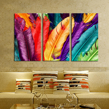 Unframed 3 Piece Poster Modular Wall Paintings Fresh Look Color Feather Modern Oil Painting on Canvas Pictures For Living Room