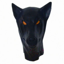 Buy New Anatomical Latex Dog Mask Black Wolf Rubber Fetish Latex Hoods Masks Mouth Eyes Condom Rubber customized catsuit costume