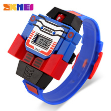 2017 Fashion LED Digit Kids Children Watch Sports Cartoon Watches Cute Relogio Relojes Robot Transformation Toys Boys Wristwatch(China)
