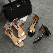 Hot Sale Pu Open Sandalias Mujer Sapato Feminino Melissa Medium With Metal Decorative Round Head Toe Sandals