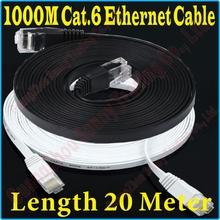 New 60FT 20M CAT6 CAT 6 Flat UTP Ethernet Network Cable RJ45 Patch LAN Cord 1000M/100M Gigabit ethernet cable super flat, PROM5