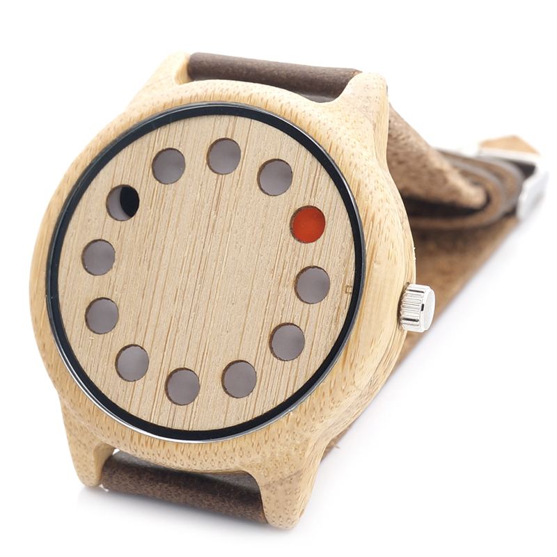 2017 New Light Eco-friendly Wooden Wristwatch Mens Top Luxury Brand Unique Holes Design Leather Quartz Watch with Leather Strap <br><br>Aliexpress