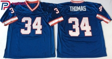 Embroidered Logo Thurman Thomas 34 blue white throwback high school FOOTBALL JERSEY for fans gift cheap 1107-5(China)