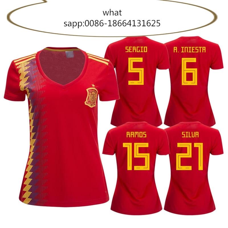 0cadbef9f Spain Women 2018 Russia World Cup Soccer Jersey football Jerseys World Cup  national team women 2017 2018 top quality girl