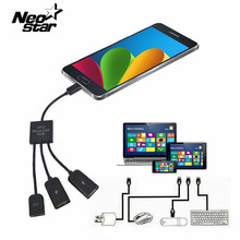 New 3 Ports Power Micro USB OTG Hub Adapter Cable for Samsung Tablet PC and  for Android Smart Phones USB 2.0