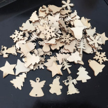 50pcs/lot Natural Wood Toys Christmas Ornaments Reindeer Tree Snowflakes Bell Wooden Blocks Home Decor Children Creative Toys(China)