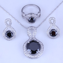 Luxury Black Imitation Onyx White Cubic Zirconia Stud Earrings / Pendant Necklace / Ring Silver Color Jewelry Sets H0250
