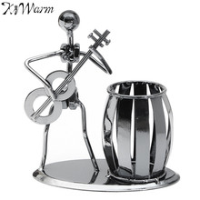 KiWarm Iron Guitar Man Design Pen Holder Figurines Ornaments for Home Office Desk Decoration Crafts Child's Souvenirs Gifts(China)