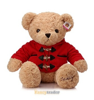 Fancytrader 2015 New High Quality Bear Toy 33 85cm Giant Plush Stuffed Teddy Bear With Clothes 2 Colors! Free Shipping FT90254<br><br>Aliexpress