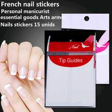 TOMTOSH Nails stickers 15 unids guide tips French Manicure Nail Art stickers Fringe form guides DIY Hair Styling Beauty tools