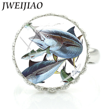 JWEIJIAO Sea Saltwater Tuna Spanish Mackerel Art Picture Crown Rings Custom DIY Women Men Glass Dome Ring Party Jewelry E916(China)