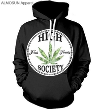 wearyourface ALMOSUN High Society Weeds 3D All Over Printed Hoodies Pockets
