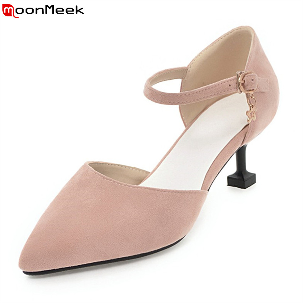 MoonMeek 2018 sexy ladies shoes high heels pointed toe with buckle strange style heel pumps women shoes wedding party shoes<br>