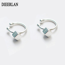 Real Pure 925 Sterling Silver Round Box Cube Earrings For Women Girls Christmas Gift Hot Fashion sterling-silver-jewelry