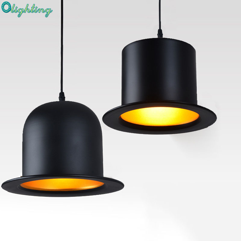 Olighting Modern black gentleman hats hanging pendant lamp gold inside pendant lights fixture restaurant bar cafe dining room <br>