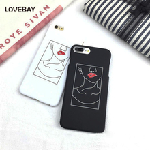 LOVEBAY Fashion Lines Sketch Phone Case For iPhone 7 6 6s Plus Sexy Red Lips Hard PC Cases Back Cover Coque For iPhone7 Plus