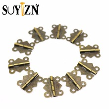 10Set Mini Door Hinges Antique Metal Cabinet Copper Hinges Small Hinges For Jewelry Boxes Wooden Box Door Brass Screws Hinge Z17(China)