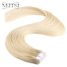 "Neitsi Mini Heart Tape In Remy Human Hair 20"" 613# Blonde 40pcs Straight 100% Virgin Remy Skin Weft Hair Extensions"