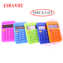 2017 hot selling 50PCS/LOT 8 New Student Mini Electronic Calculator Candy Color Calculating Office Supplies Gift 9*6mm Size(China)