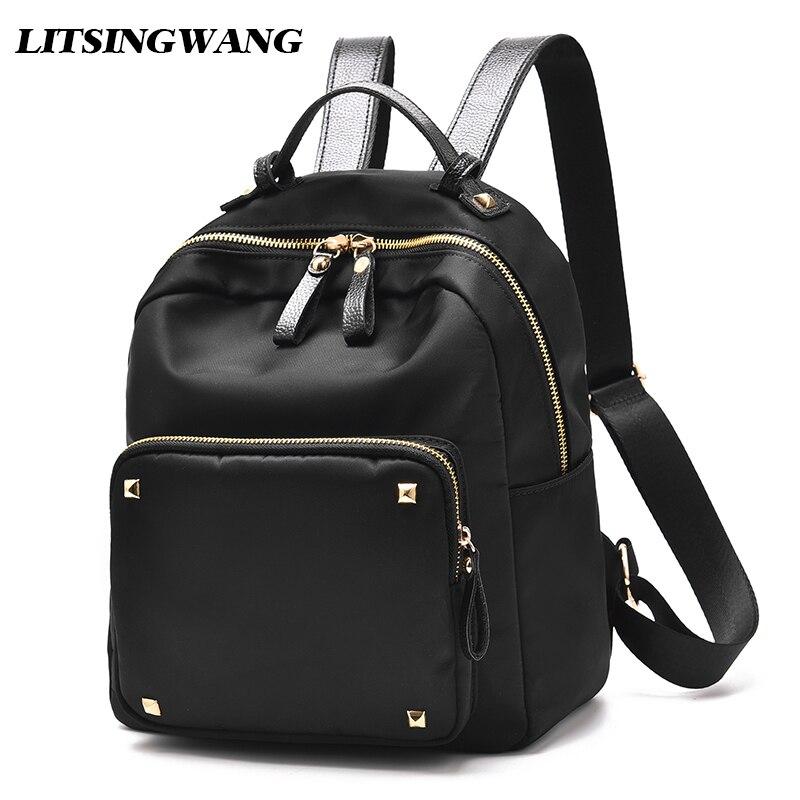 LITSINGWANG New Women Backpack Student College School Bags Waterproof Backpack Soft Nylon Girls Fashion Rivet Preppy Style Black<br>