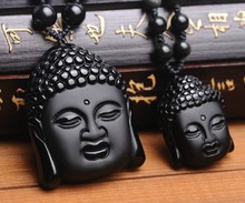 Wonderful Natural Genuine Black Obsidian Carved Buddha Lucky Blessing Pendant Necklace Carving Pendants Fashion Jewelry()