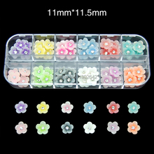 RB18  60pcs/set Cheap Resin Flower Nail  Design With 12 Case Unique Plastic Box Packing nail accessory