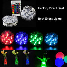 luzes de natal free Shipping 3AAA Battery Operated 2.8inch Submersible Multicolors RGB LED Under Vase Light Base W/Remote