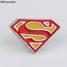 New fashion Superhero Superman S Logo brooches badge Pin High quality enamel pin Dress Accessory jewelry lapel pin men(China)