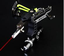 2017 Hot New Powerful Stainless Steel Slingshot Sling Shot Catapult Black Compound Bow With Laser And Flashlight For Shooting