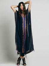 2018 hot Free shipping fashion maxi ankle-length Dress people embroidery cloak Bohe style loose dress side jag special dresses(China)