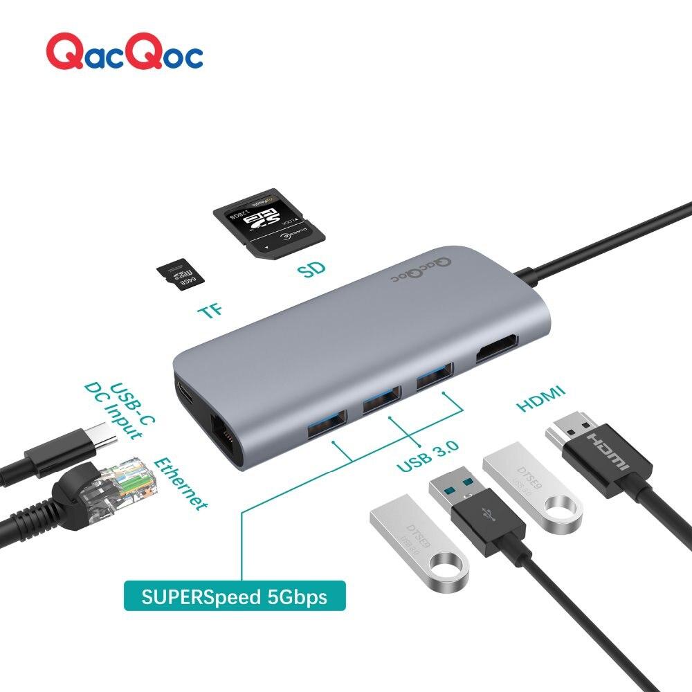 "QacQoc GN30E Aluminium alloy USB C Hub 3 USB 3.0 Ports 4K Output Card Reader LAN Port Type-C Charging port Macbook 12"""