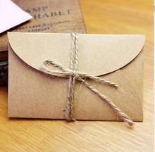 100 pieces Party Handmade mini kraft paper envelope 5.8x9cm for wedding party invitation card, business card, packaging