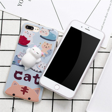 Tidal Current 3D Cute Lazy Cat Cartoon Phone Case For iPhone 6 6S Plus 7 7Plus Soft Toy Back Cover Mobile Coque Fundas Cases