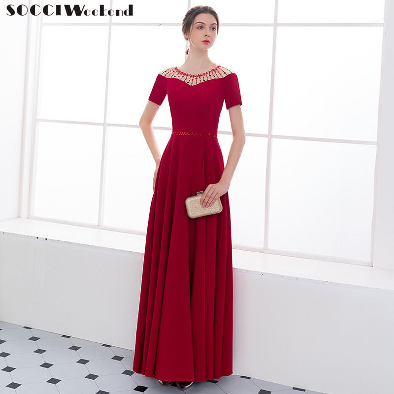 Long Evening Dresses SOCCI New 2018 Short Sleeves Beaded Floor length Lace Up Back Burgundy Dress Bridal Formal Prom Party Gowns
