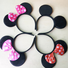 Minnie Mickey Ears 12pcs Headbands Black Red Polka Dot Bow Birthday Party Favors Kids Girls Boys red rose black & pink Hairbands(China)