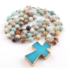 Free Shipping Rosary Chain Amazonite Stones Blue Cross Pendant Ethnic Necklace Bohemian Tribal Jewelry