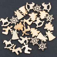 30pcs/lot 5 Designs 20mm Natural Wood Christmas Ornaments Reindeer Tree Snow Flakes Rocking Horse Xmas Decor