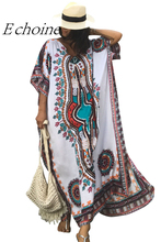 Echoine White Ethnic Print Kaftan Beach Dress Women Bikini Swimsuit Cover Ups Cotton Bathing Suits Pareos Sarongs Beach Tunic(China)