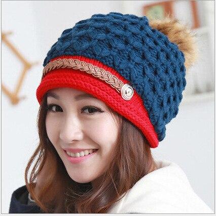 Winter Brand New Colorful Wool Knitted Beanie Hat With Fur Pom Poms For Women  Hip Hop Snowboard Winter Ski Skating Knit Caps Îäåæäà è àêñåññóàðû<br><br><br>Aliexpress