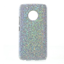 for Motorola Moto G 5 Phone cover fundas Leather Coated PC Hard Protector Casing for Motorola Moto G5-Glitter Sequins/Silver