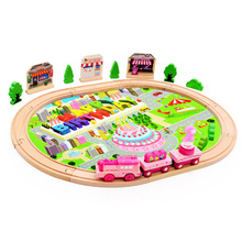 39Pcs Wooden Train Set Electronic Train Track Set With Music Wooden Railway For Kids' Birthday Gift Hot Wooden Toys for Children