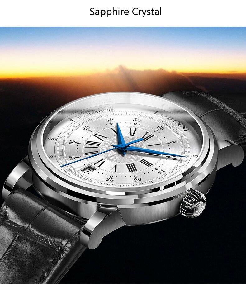 LOBINNI New Men Watches Top Luxury Brand Japan Import NH35A SII O Auto Mechanical MOVT Men's Clock Sapphire reloj hombre L1018-8 5