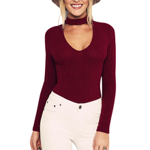 Buy New Autumn Black Halter Knitted Sweater Women White Sexy Pullover Women Tops Slim V neck Long Sleeve Chic Jumper Sweater Femme 5 for $6.08 in AliExpress store
