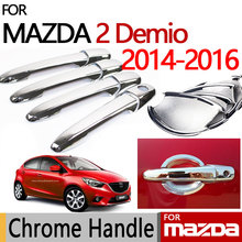 for Mazda 2 Demio Chrome Door Handle Cover Luxury No Rust Accessories Trim Set 4 Door 2014 2015 2016 2017 Car Styling(China)