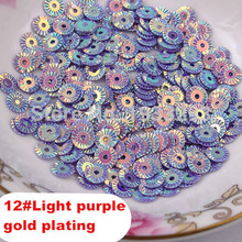 2015 Hot Sale 3000Pcs 6MM Light Purple Round Gold Plating Loose Sequins Sewing PVC  DIY Sequin Sewing Materials Paillette Side